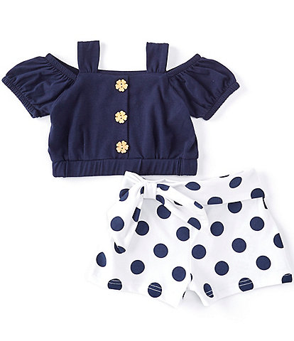 Rare Editions Baby Girls 3-24 Months Cold-Shoulder Top & Bow Dotted Short Set