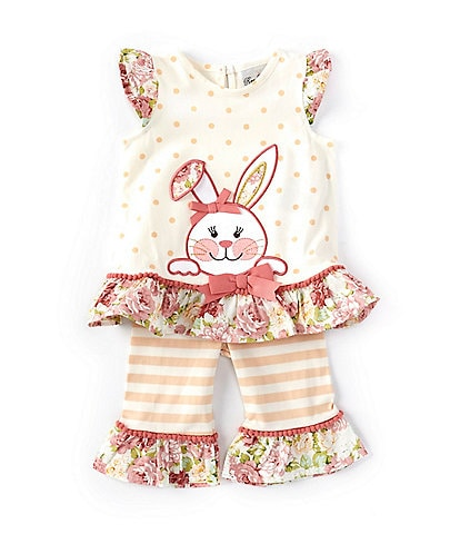 Rare Editions Baby Girls 3-24 Months Easter Bunny Polka-Dot Tunic Top & Striped Ruffle-Hem Leggings Set