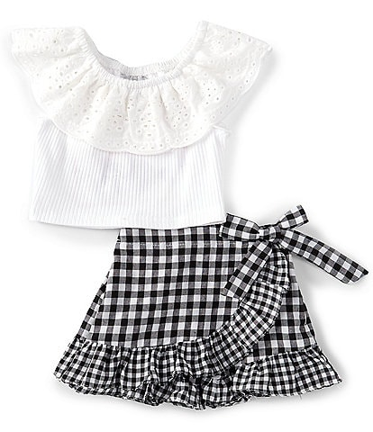 Rare Editions Baby Girls 3-24 Months Eyelet-Collar Top & Gingham Skort Set