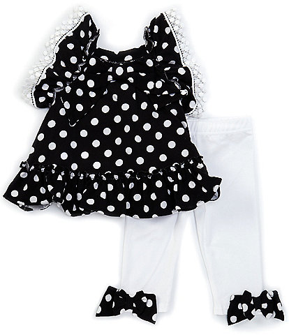 Rare Editions Baby Girls 3-24 Months Flutter-Sleeve Dotted Top & Bow-Accented Leggings Set