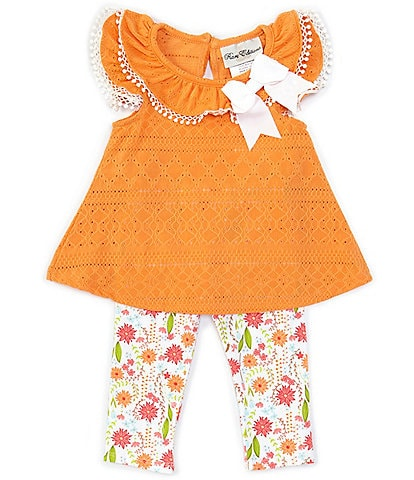 Rare Editions Baby Girls 3-24 Months Flutter-Sleeve Eyelet Tunic & Floral Leggings Set