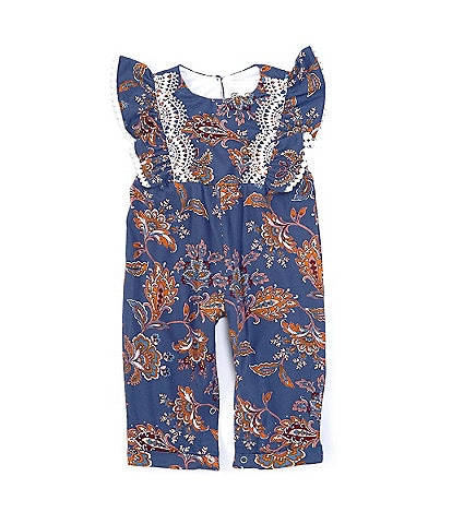Rare Editions Baby Girls 3-24 Months Flutter-Sleeve Paisley Floral Jumpsuit