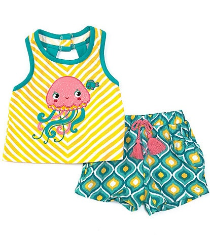 Rare Editions Baby Girls 3-24 Months Jellyfish Chevron-Stripe Tank Top & Geometric Shorts Set
