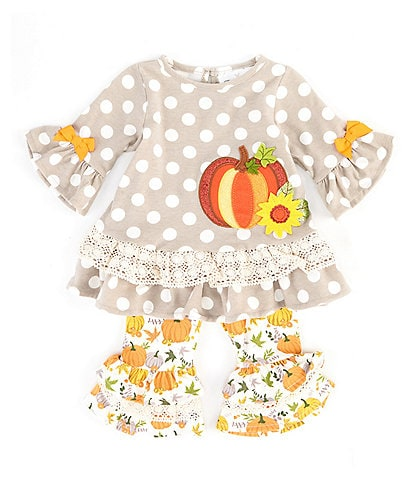 Rare Editions Baby Girls 3-24 Months Long-Sleeve Large-Dot Tunic & Pumpkin-Print Leggings Set