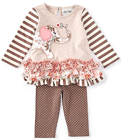 Rare Editions Baby Girls 3-24 Months Long-Sleeve Mixed-Media Elephant-Applique Top & Dotted Leggings Set