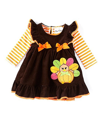 Rare Editions Baby Girls 3-24 Months Long-Sleeve Stripe Bodysuit & Turkey Corduroy Jumper