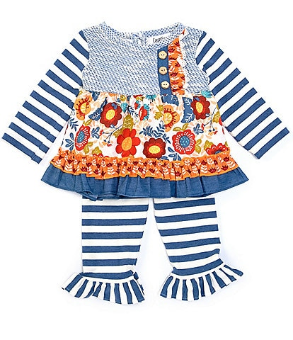 Counting Daisies Baby Girls 3-24 Months Mixed-Media Dress & Striped Leggings Set