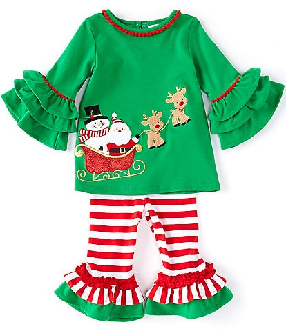 Rare Editions Baby Girls 3-24 Months Ruffle-Sleeve Santa Claus Tunic Top & Striped Leggings Set
