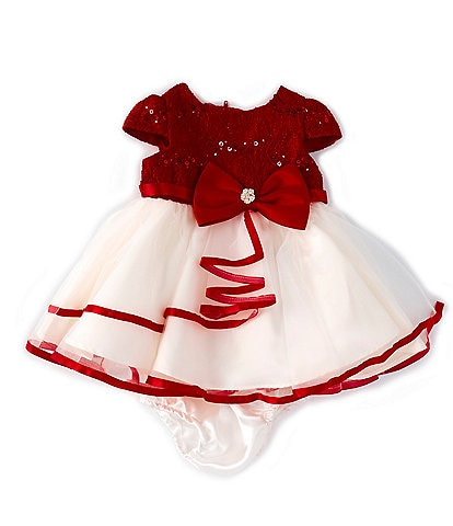 Rare Editions Baby Girls 3-24 Months Sequin Lace/Tiered Mesh Fit-And-Flare Dress