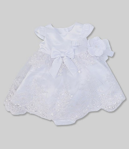 Rare Editions Baby Girls 3-24 Months Sequin/Faux-Pearl-Embellished Embroidered Fit-And-Flare Dress