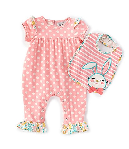 Rare Editions Baby Girls 3-24 Months Short-Sleeve Dotted Coverall & Striped Easter Bunny Bib Set