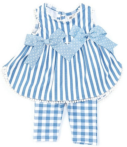 Rare Editions Baby Girls 3-24 Months Side-Bows Stripe Top & Checked Leggings Set