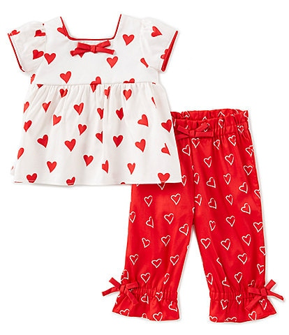 Rare Editions Baby Girls 3-24 Months Valentine's Day Heart-Print Top & Pant Set