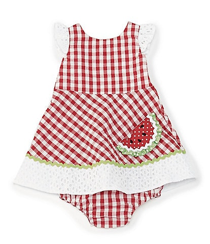 Rare Editions Baby Girls 3-24 Months Watermelon-Appliqued Checked Seersucker Fit-And-Flare Dress