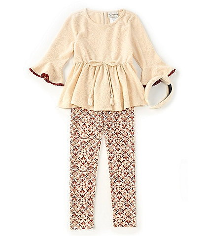 Rare Editions Big Girls 7-12 3/4 Sleeve Bell Textured Knit Top & Printed Legging Set