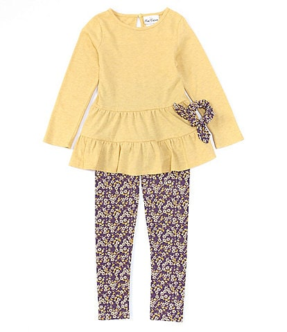 Rare Editions Big Girls 7-12 Long Sleeve Heathered Knit Tiered Top & Floral Printed Legging 3-Piece Set