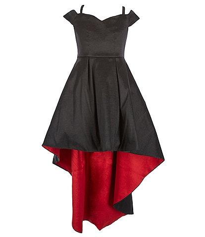 Rare Editions Big Girls 7-16 Sweetheart Neck Cold Shoulder Taffeta High Low Dress