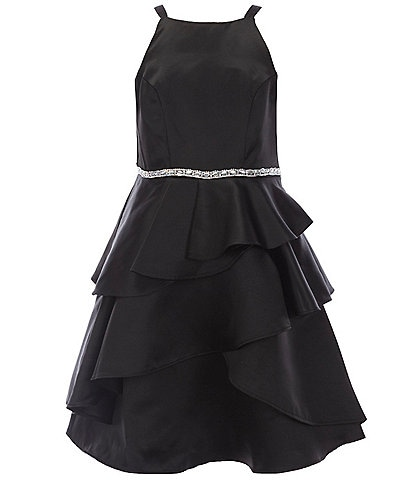 Rare Editions Big Girls 7-16 Asymmetrical-Tiered Satin Fit-And-Flare Dress