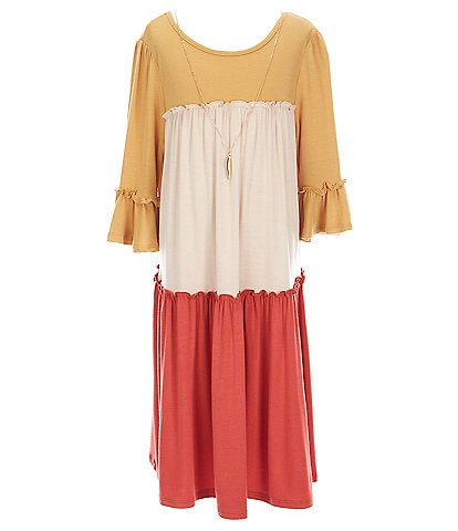 Rare Editions Big Girls 7-16 Bell-Sleeve Color-Block Pleated Knit Tiered Shift Dress