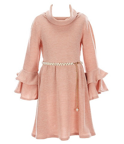 Rare Editions Big Girls 7-16 Bell-Sleeve Cowl-Neck Pearl Belted Knit Dress