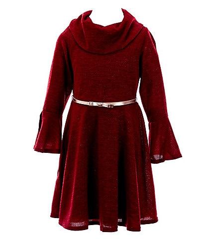 Rare Editions Big Girls 7-16 Bell-Sleeve Hacci Fit-And-Flare Dress