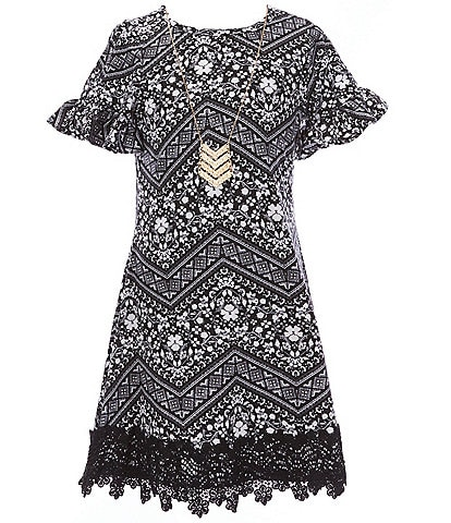 Rare Editions Big Girls 7-16 Bell-Sleeve Mixed-Media Shift Dress