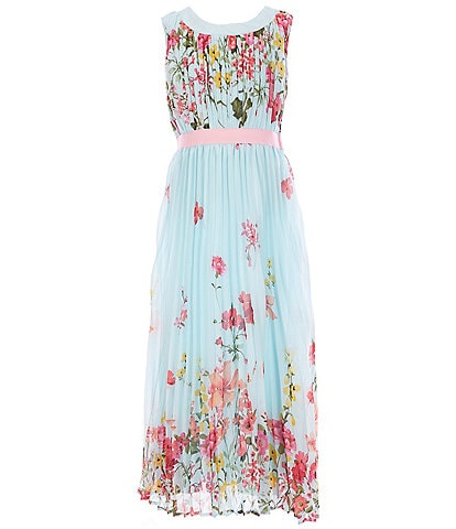 Rare Editions Big Girls 7-16 Border-Printed Chiffon Long Dress