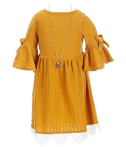 Rare Editions Big Girls 7-16 Bow Elbow-Sleeve Lace Hem Rib Knit Fit-And-Flare Dress