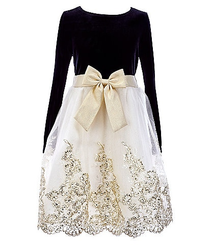 Rare Editions Big Girls 7-16 Bow-Waist Velvet/Glitter Embroidered Fit-And-Flare Dress