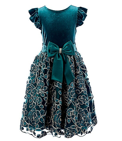 Rare Editions Big Girls 7-16 Bow-Waist Velvet/Soutache Fit-And-Flare Dress