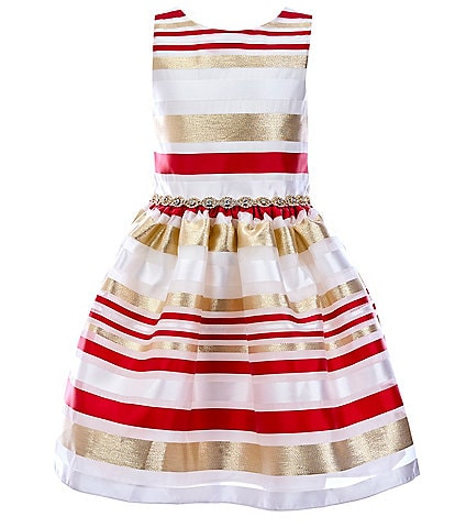 Rare Editions Big Girls 7-16 Burnout Organza Stripe Fit-And-Flare Dress