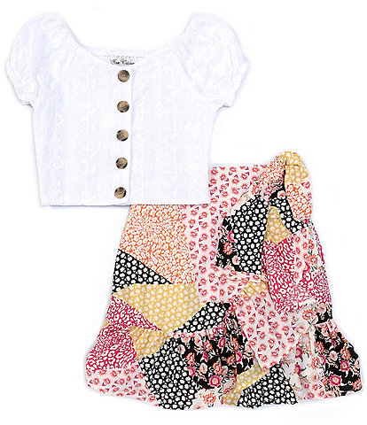 Rare Editions Big Girls 7-16 Cap-Sleeve Embroidered Top & Printed Skirt Set