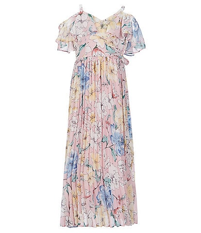 Rare Editions Big Girls 7-16 Cold-Shoulder Floral-Printed Pleated Long A-Line Dress