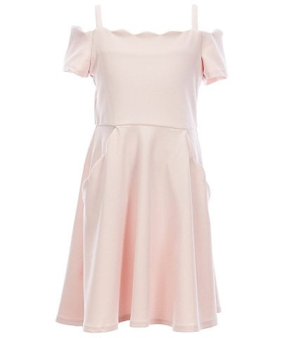 Rare Editions Big Girls 7-16 Cold-Shoulder Scalloped Fit-And-Flare Dress