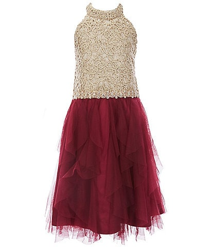 Rare Editions Big Girls 7-16 Corded-Embroidered/Layered-Mesh Fit-And-Flare Dress