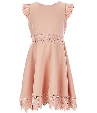 Rare Editions Big Girls 7-16 Crochet-Trim Scuba Fit-And-Flare Dress
