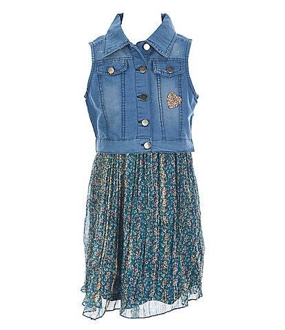 Rare Editions Big Girls 7-16 Denim Vest & Ditsy Print Pleated Chiffon Dress Set