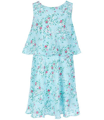 Rare Editions Big Girls 7-16 Ditsy-Floral Popover Dress