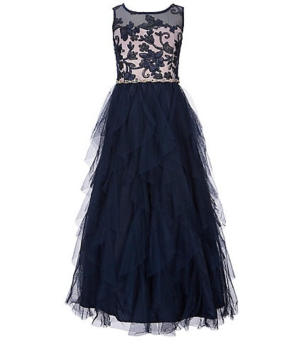 Rare Editions Big Girls 7-16 Embroidered Bodice Solid Mesh Fit-And-Flare Dress