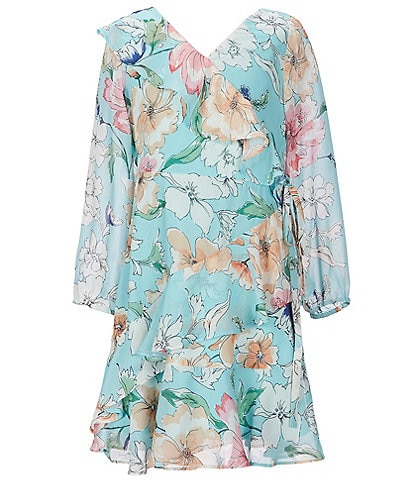 Rare Editions Big Girls 7-16 Floral Chiffon Faux-Wrap Dress