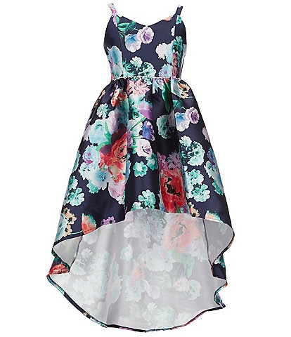 Rare Editions Big Girls 7-16 Floral-Print Extreme High-Low Dress