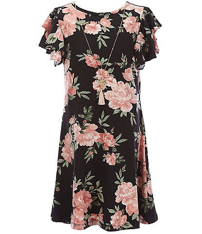 Rare Editions Big Girls 7-16 Flutter-Sleeve Floral Shift Dress