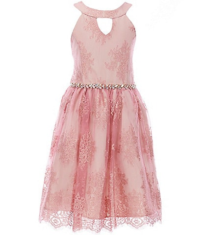 Rare Editions Big Girls 7-16 Foiled-Lace Fit-And-Flare Dress