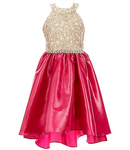 Rare Editions Big Girls 7-16 Halter-Neck Embroidered/Mikado Hi-Low Dress