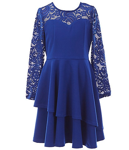 Rare Editions Big Girls 7-16 Lace/Scuba Two-Tier Fit-And-Flare Dress