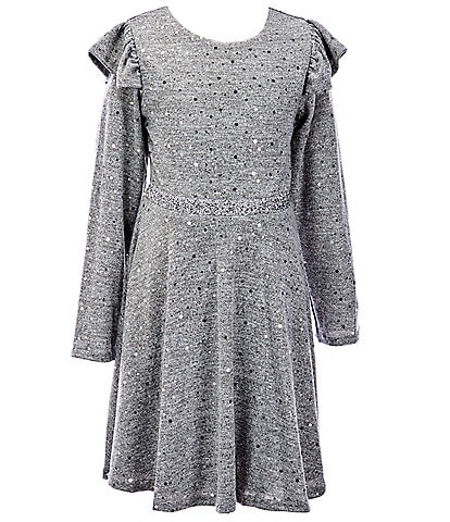 Rare Editions Big Girls 7-16 Long Ruffle-Shoulder Sleeve Hacci Foil Fit-And-Flare Dress