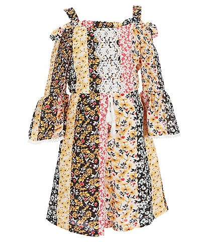 Rare Editions Big Girls 7-16 Off-The-Shoulder Patchwork Printed Woven Romper