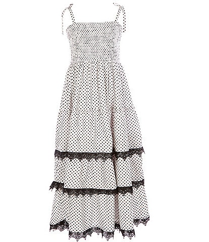 Rare Editions Big Girls 7-16 Polka-Dot Crepe Tiered Maxi Dress