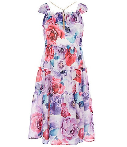 Rare Editions Big Girls 7-16 Printed Chiffon Tiered Maxi Dress
