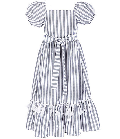 Rare Editions Big Girls 7-16 Puff-Sleeve Striped Maxi Dress